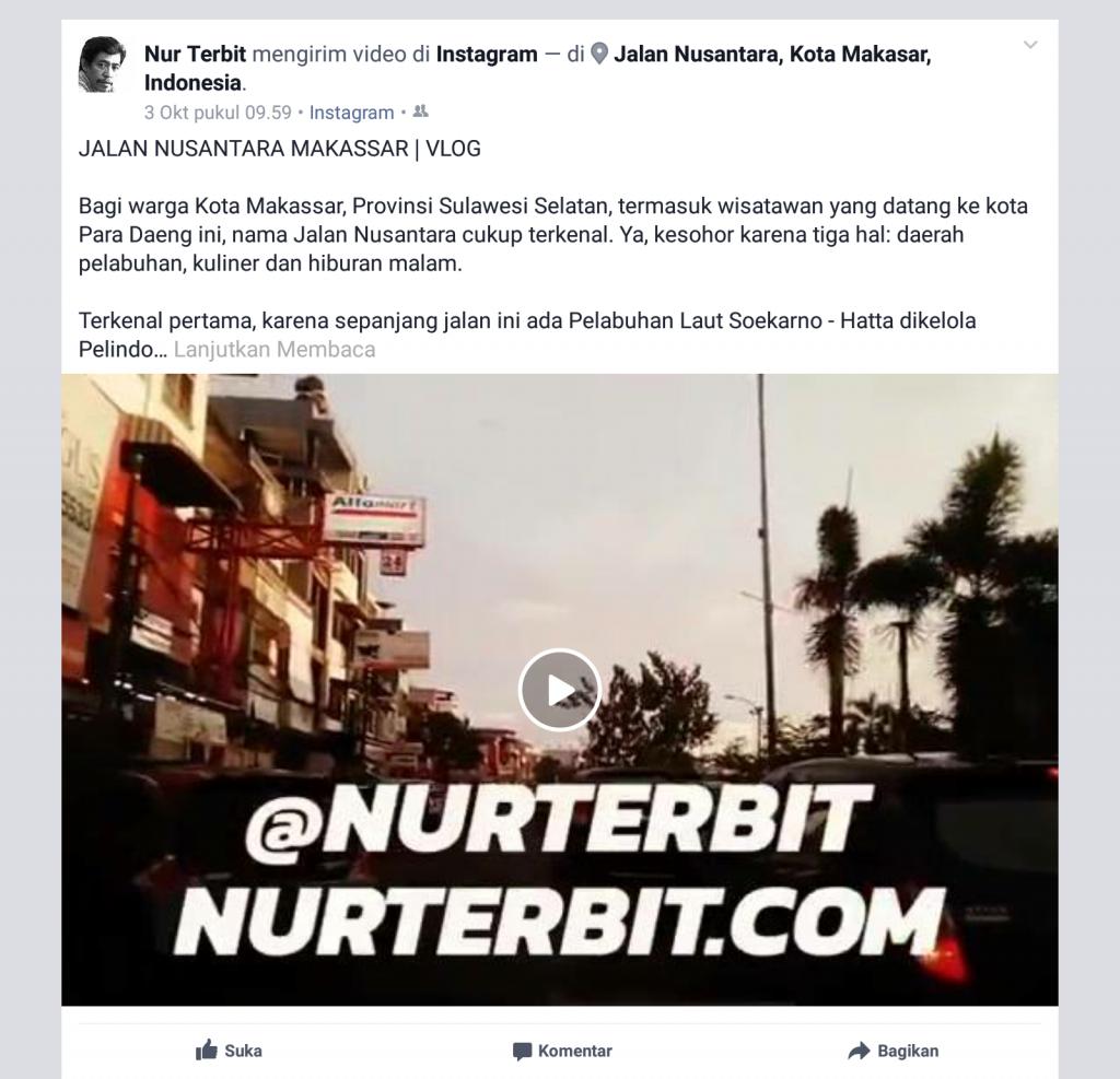 Kawasan Jalan Nusantara Kota Makassar, Sulawesi Selatan dalam postingan di Facebook (foto : Nur Terbit)