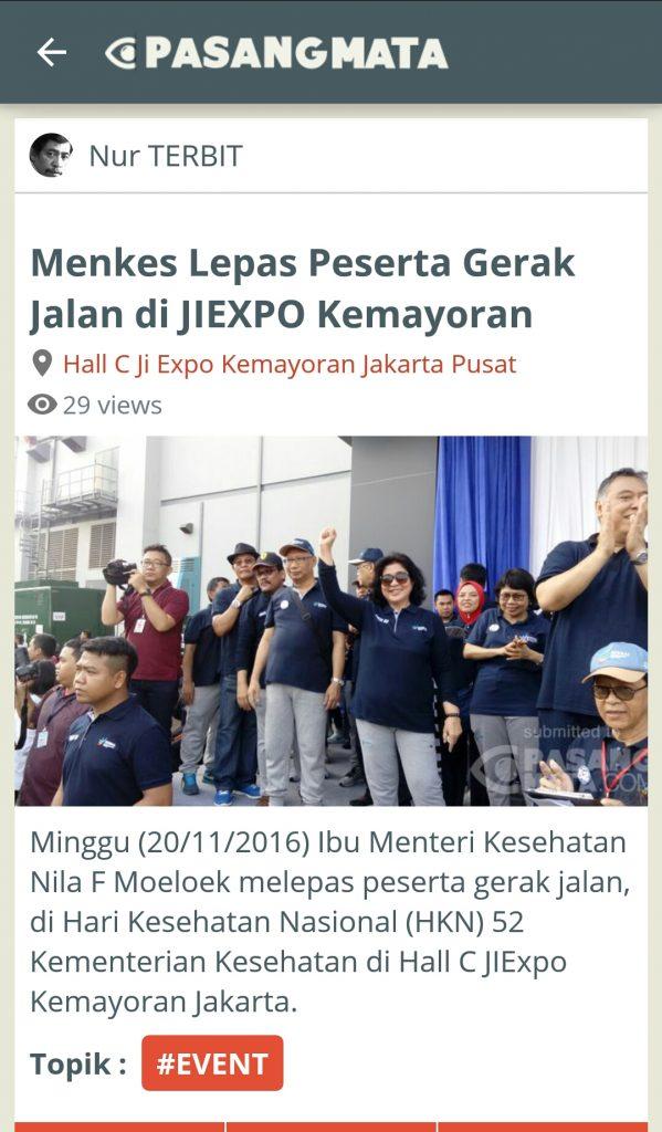 Menteri Kesehatan dan acara HKN-52 dimuat Pasangmata Detikcom (foto Nur Terbit)