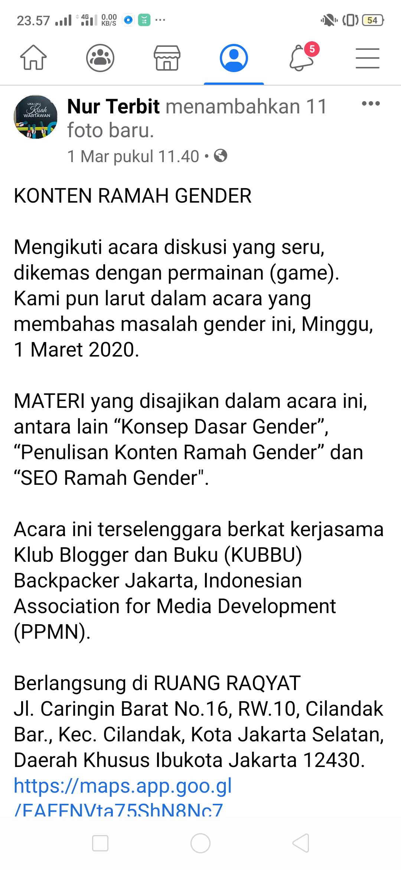 Tim Pemateri pada diskusi bertema konten ramah gender